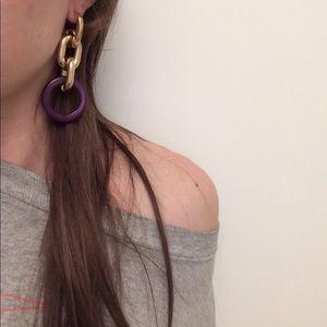 NWT GOLD HOOP CHAIN  EARRINGS DANGLING PURPLE LONG